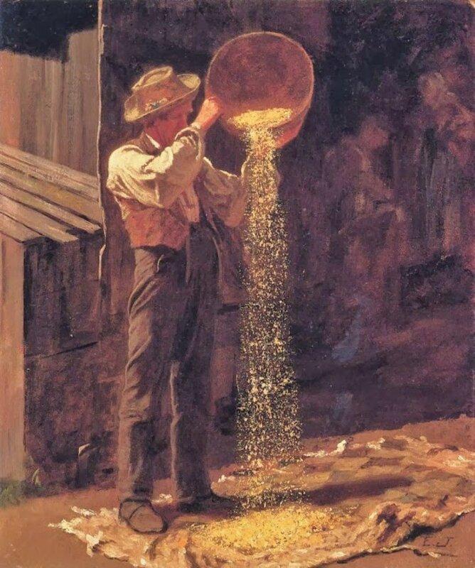 4 f John Eastman (American Painter, fl 1842-1880) Winnowing Grain.jpg
