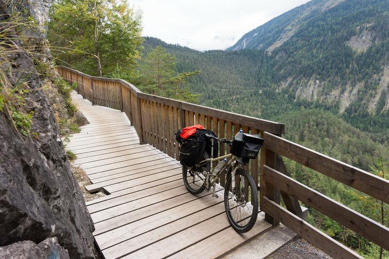 деревянная велодорожка на перевале Фернпасс (Fernpass)