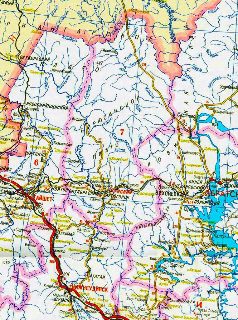 Карта Иркутской области, 1997 год/ Фрагмент с Чунским районом.