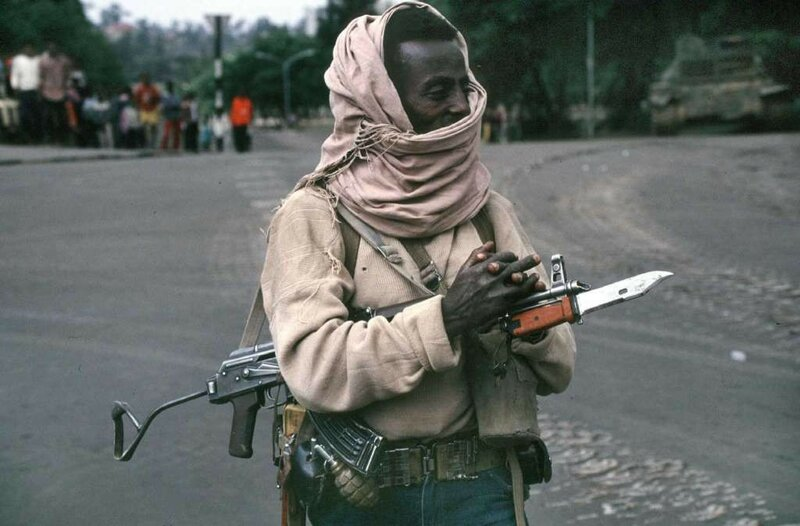 1991 A fighter with the Revolutionary Democratic Front of the Ethiopian People, pictured in Addis Abba.jpg