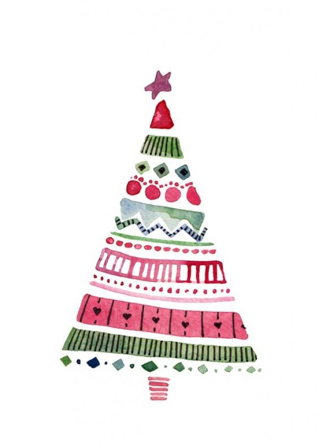 © Felicity French  Чудесная акварель так вдухе Нового года иРождества! Несложный акварельный