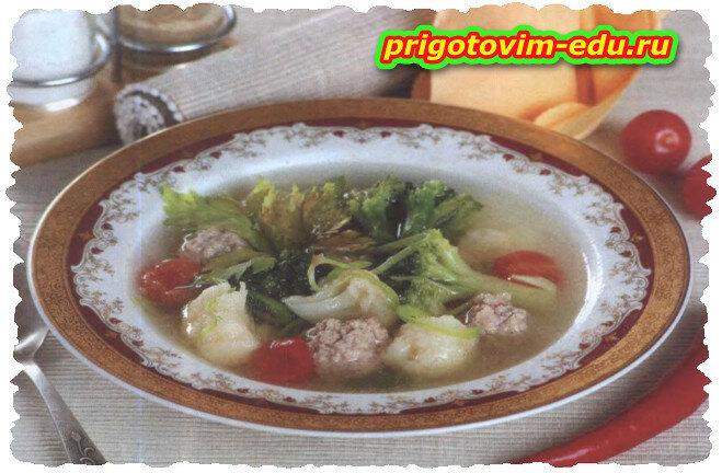 Овощной суп с фрикадельками и зеленью