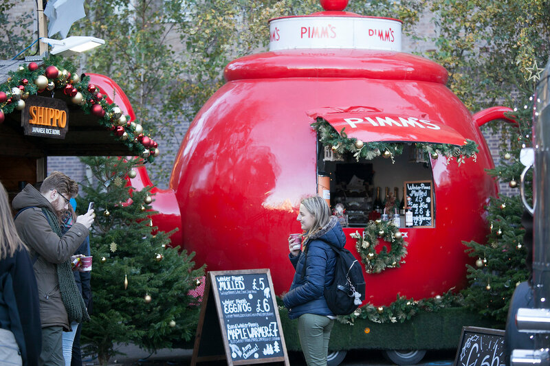 LONDON, UK - DECEMBER 4, 2016 Hyde Park Winter Wonderland traditional fun fair with food and drink stalls, carousels, prizes to win, and Christmas activities