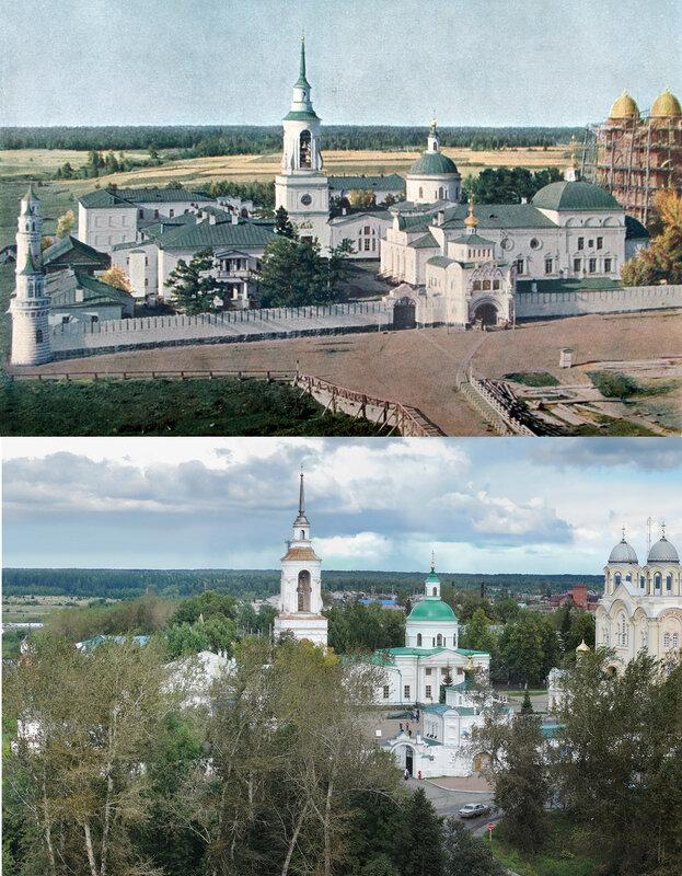 Вид на Верхотурский монастырь. 1909 год и 106 лет спустя4.jpg