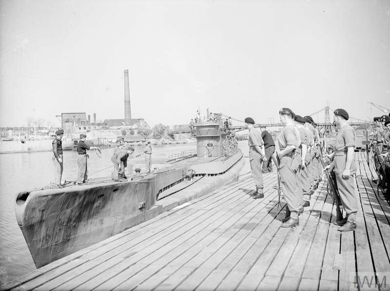 U-BOATS SURRENDER AT WILHELMSHAVEN. 13 MAY 1945, WILHELMSHAVEN, FORMAL SURRENDER OF U-BOATS AT THE FAMOUS GERMAN NAVAL BASE.