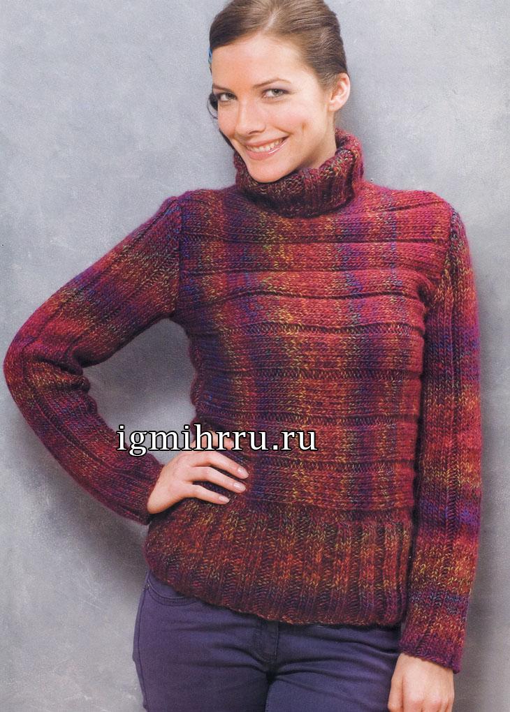 Меланжевый свитер, связанный резинкой в разных направлениях. Вязание спицами