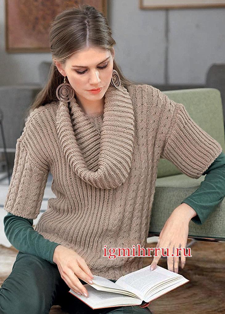 Бежевый пуловер с косами и патентным узором, дополненный снудом. Вязание спицами