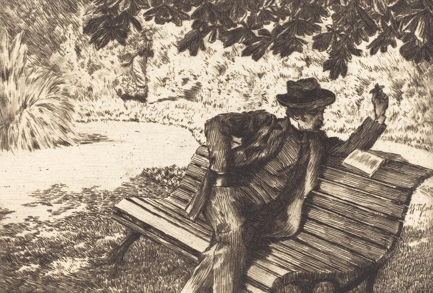 1882 Denoisel Reading in the Garden