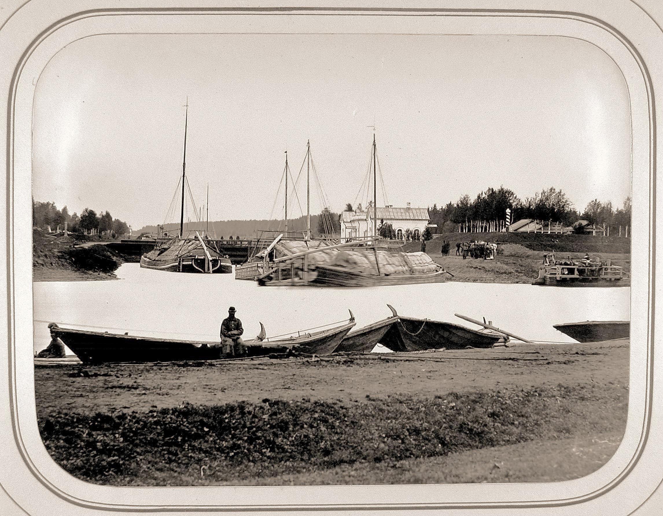 Вход в Белозерский канал (из реки Шексны) и шлюз Безопасность. . 1865