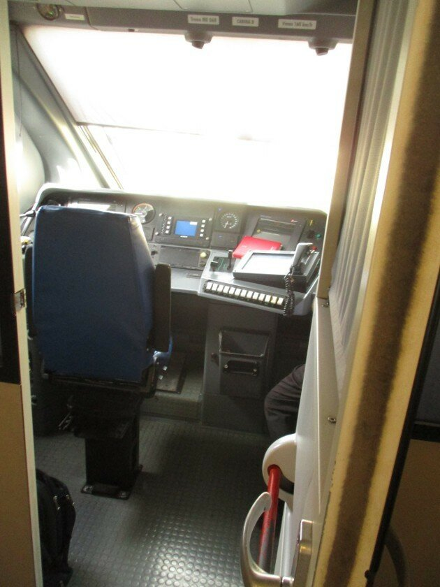 Train Agrigento-Palermo. Driver's cab