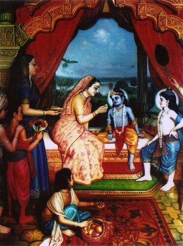 Яшодадеви и гопи кормят Кришну, справа Баларама