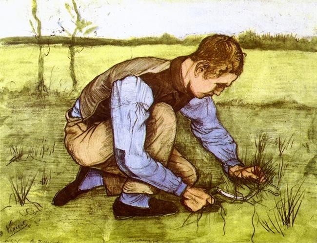 © wikipedia.org  «Мальчик, обрезающий траву серпом», 1881 Первые работы Ван Гога посвящены кре