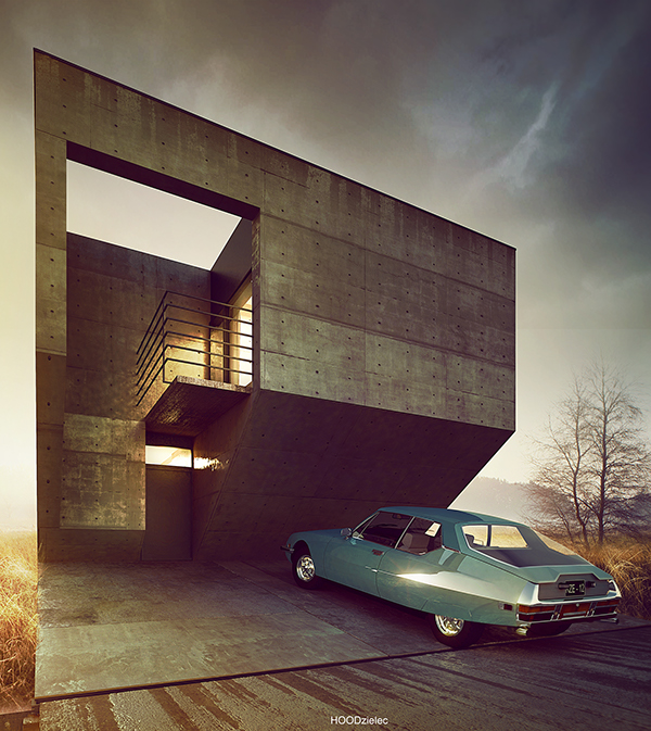 Brutalist House Concept Design by Adam Spychala