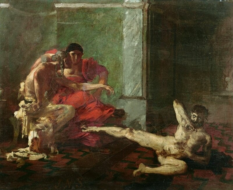CHT219368 Locusta Testing Poison on a Slave, c.1870-80 (oil on canvas) by Sylvestre, Joseph-Noel (1847-1926); Private Collection; (add.info.: in the presence of Emperor Nero; la sorciere Locuste essaye sur un esclave, en presence de Neron, le poison que c
