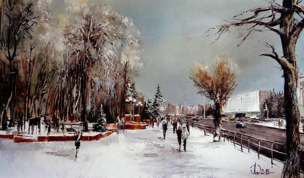 Леднев Александр Алексеевич . Вид на Кузнейкий парк. Зима..jpg