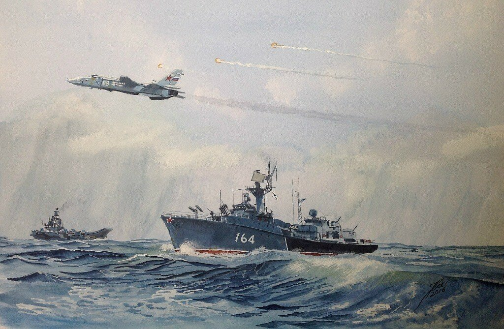 Corvette 164 Onega, exercise with the aircraft Carrier Admiral Kuznetsov and an Su24 'Fencer' which is firing decoy flares.