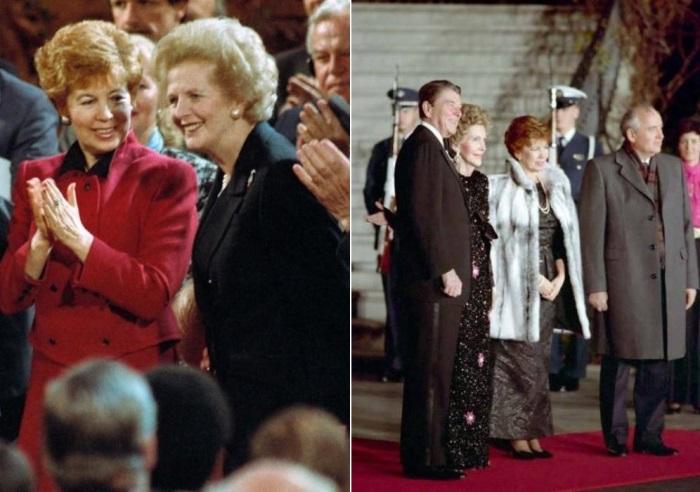 Слева – Раиса Горбачева и Маргарет Тэтчер, 1989. Справа – Чета Горбачевых во время визита в США,