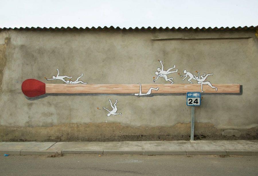 Громадные граффити мелких предметов от Ampparito (8 фото)