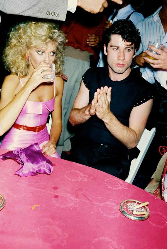 Оливия Ньютон-Джон и Джон Траволта на вечеринке в честь премьеры фильма «Бриолин» 1978 года.