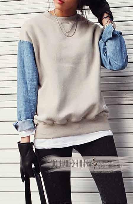 Переделка одежды. Свишот и старая джинсовая рубашка.Перешиваем рукава с помощью джинсовой рубашки