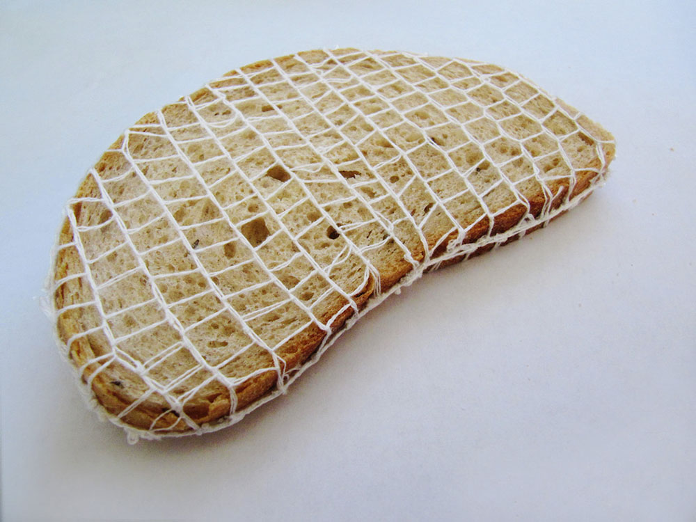 Embroidered Bread Slices by Terezia Krnacova Combine Food and Textile Art