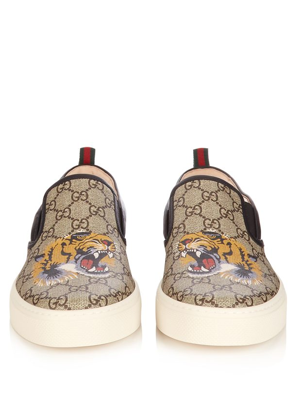 GUCCI GG Supreme tiger-print low-top trainers