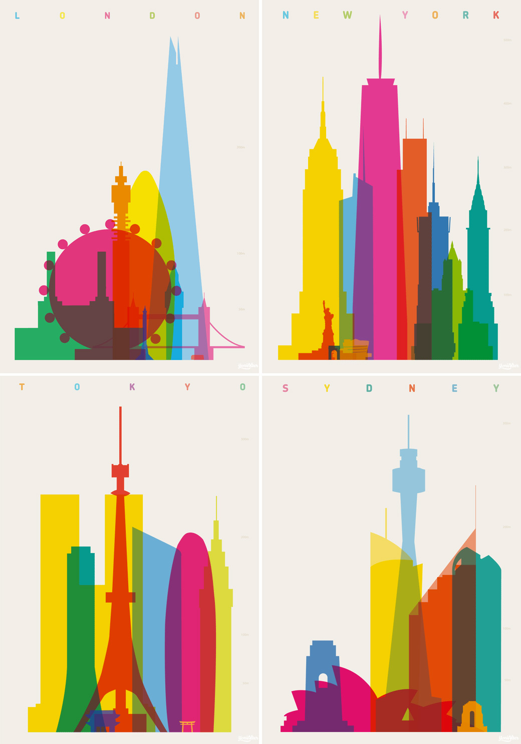 Colorful City Silhouette Prints by Yoni Alter (5 pics)