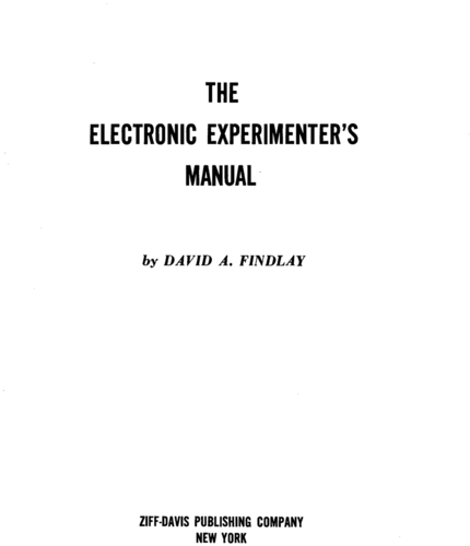 The Electronic Experimenter's Manual - David Findlay - Book Cover