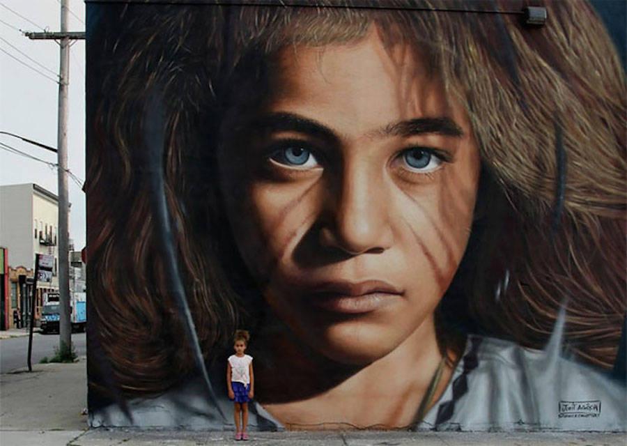 Giant Hyperrealistic Mural Portraits