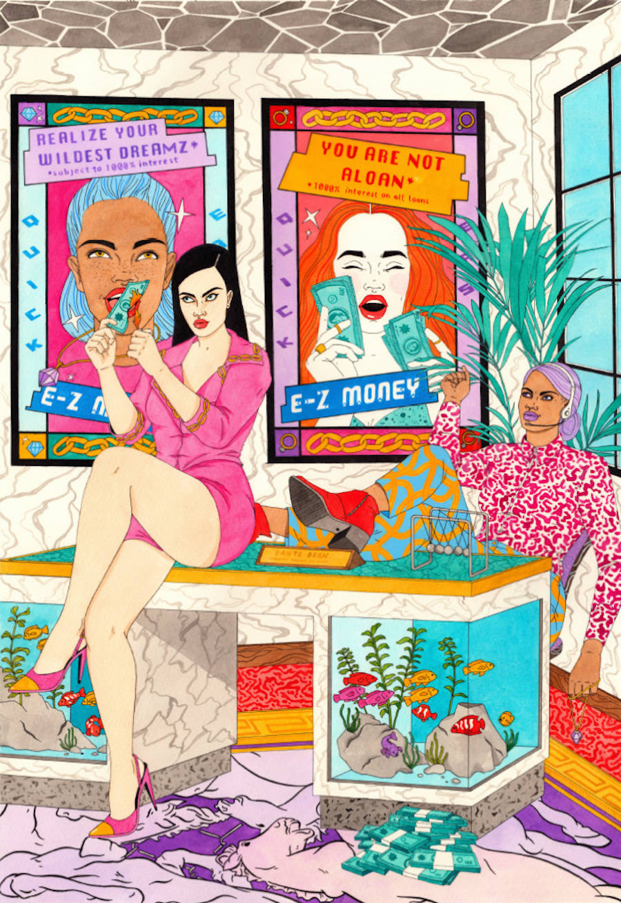 Vibrant Everyday Life Illustrations of Trendy Girls