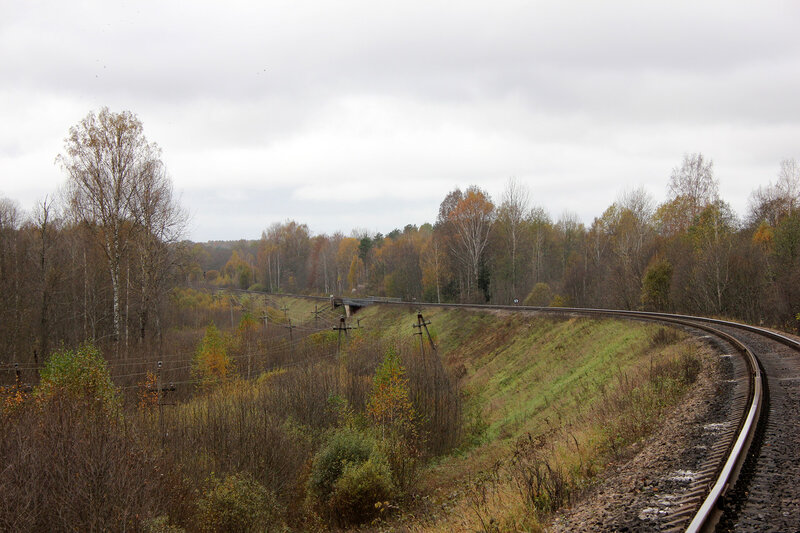 Станция Посинь на горизонте. Видно входной сигнал Н станции Посинь, мост через реку Исса. 631-й км Рижского направления