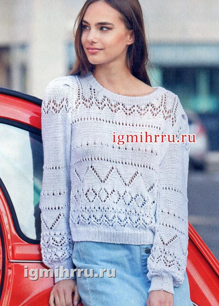 Белый пуловер с миксом ажурных узоров. Вязание спицами