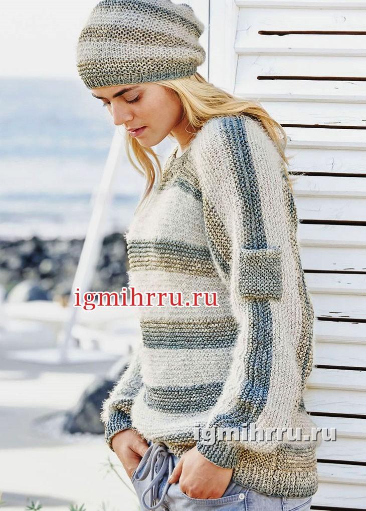 Комплект из хлопковой пряжи: пуловер и шапочка с полосками. Вязание спицами