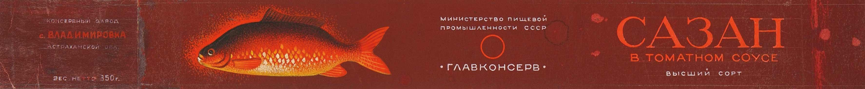 1950. Образец дизайна этикетки для консервов «Сазан в томатном соусе»