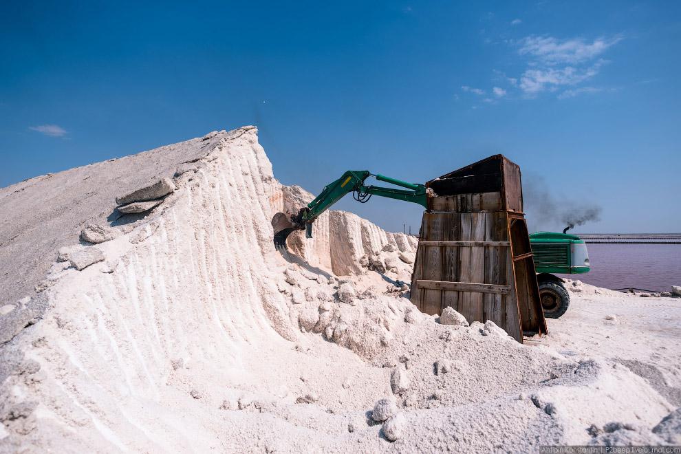 42. Грузовик подъезжает к горам соли, здесь его ждет экскаватор.