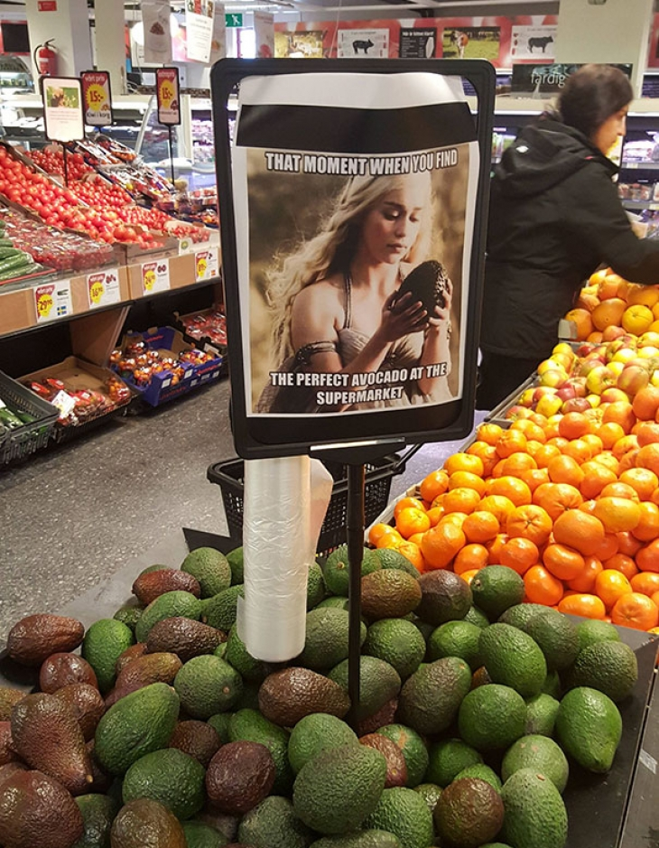 Тот момент, когда ты находишь идеальное авокадо в супермаркете. Почувствуй себя Дейнерис Таргариен!