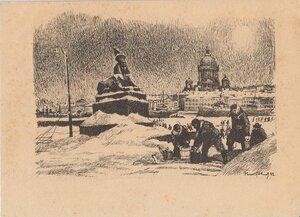 1942. За водой на Неву