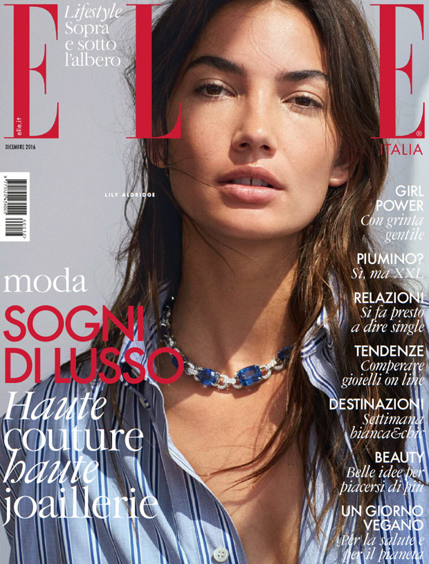 Lily Aldridge Stars in Elle Italia December 2016 Cover Story