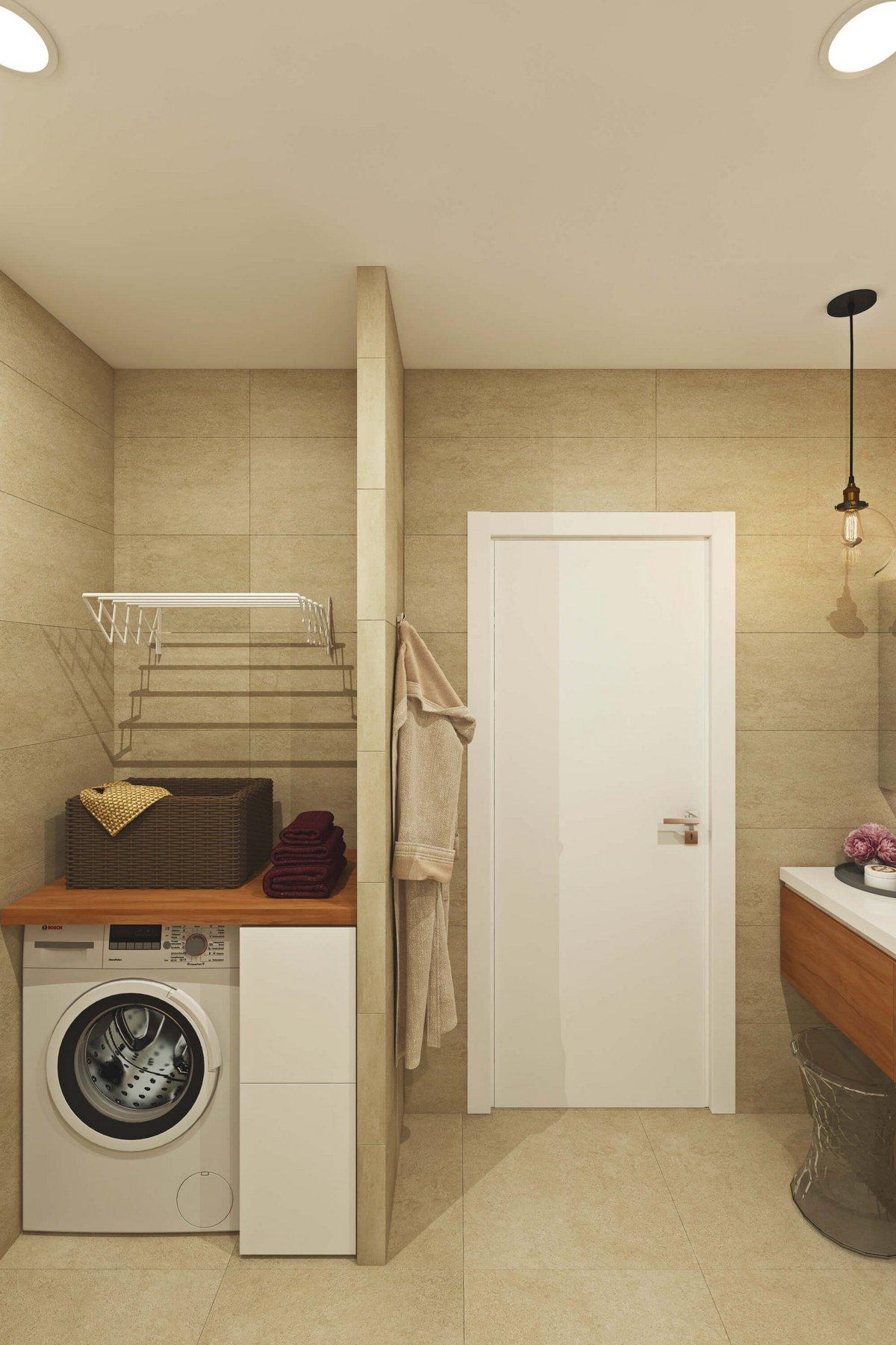 ванная комната в бежевых оттенках