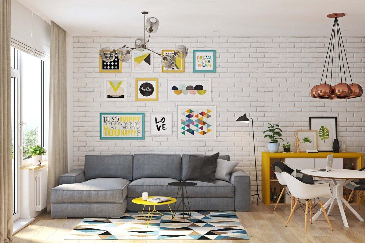 Белые стены с картинами в квартире