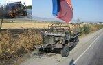 Разбитый и обгоревший грузинский М35 под Гори