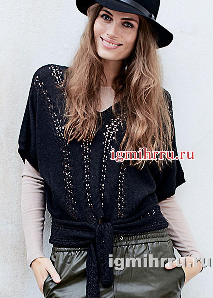 Ажурный черный блузон с поясом. Вязание спицами