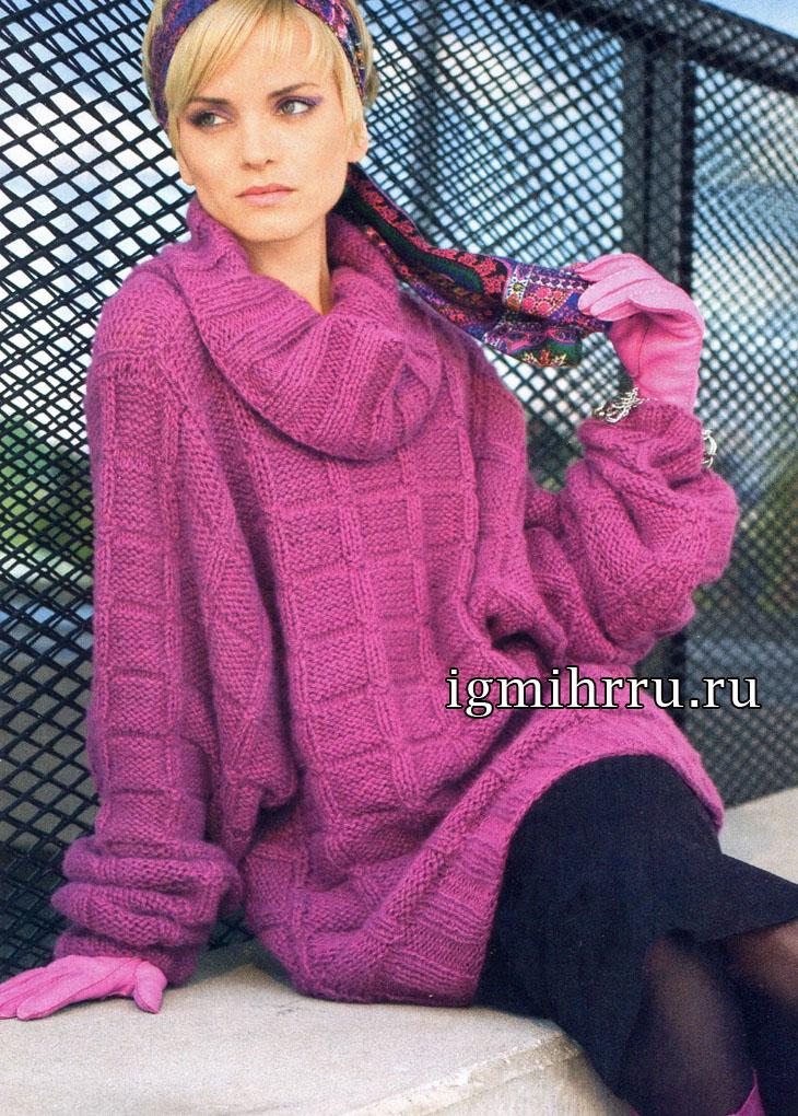 Розовая туника с рукавами «летучая мышь. Вязание спицами