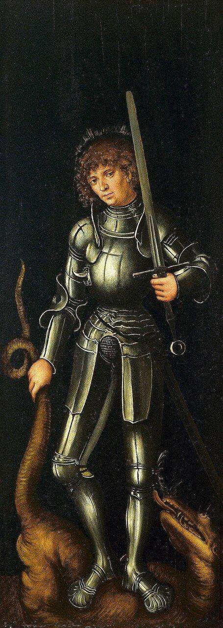 Створка алтаря (правая) (оборотная сторона)_Святой Георгий (Saint George)_ок.1514_85 x 30.6_д.,м._Мадрид, музей Тиссена-Борнемисы.jpg
