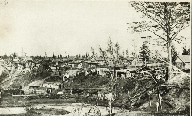 Крестьянско-рыбацкий поселок в устье реки Каменки в 1895