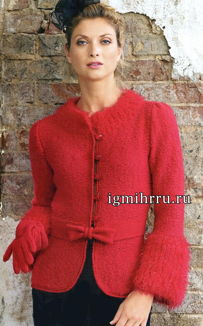 Французская элегантность: красный жакет с бантиком и перчатки. Вязание спицами