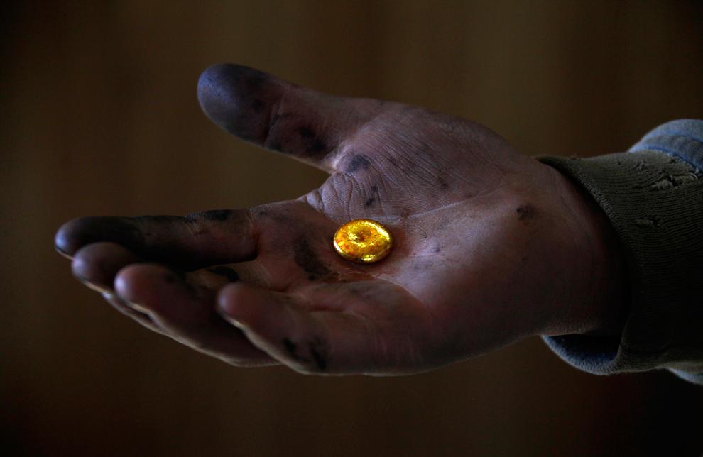1. Горнорабочий держит в руке кусочек золота, добытый на перерабатывающем заводе Улан Батора 5 апрел