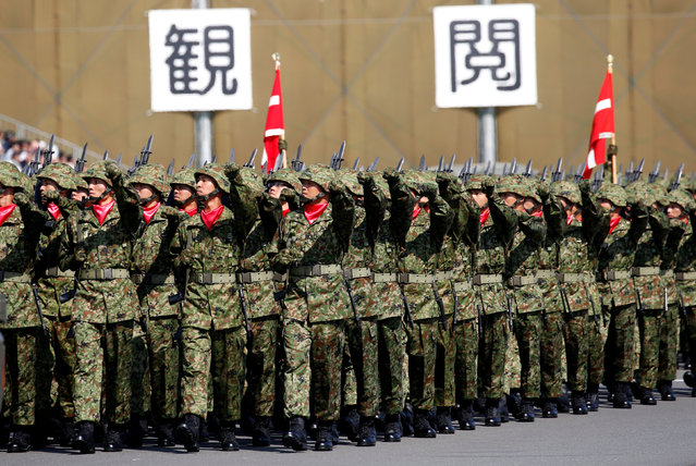 Members of Japan's Self-Defence Forces' infantry unit march during the annual SDF ceremony