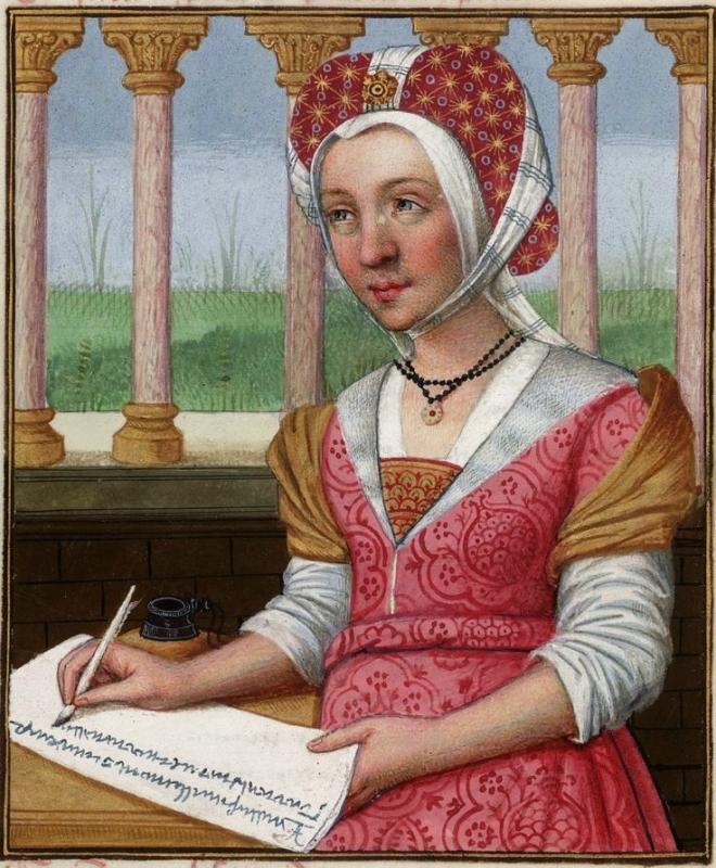 Oenone, with a grassy lawn visible behind her -- Huntington Library Ms HM 60, f°23v Les XXI Epistres des Dames illustres traduicttes d'Ovide par le Rev.jpg