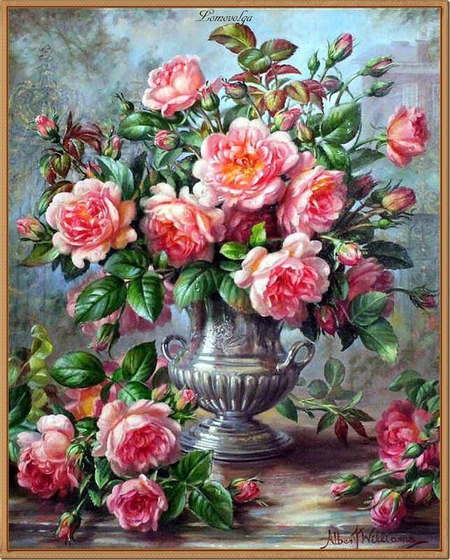 Albert Williams (1922-2010) Pink roses before palace gates oil on canvas.jpg